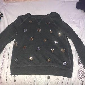 A grey sweatshirt